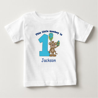 Little Monkey Kids 1st Birthday Personalized Baby T-Shirt