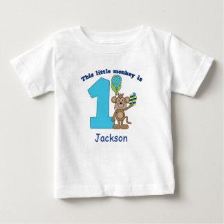 Little Monkey Kids 1st Birthday Personalized Baby T-Shirt