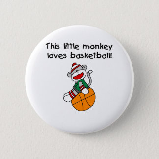 Little Monkey Loves Basketball 6 Cm Round Badge
