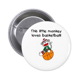 Little Monkey Loves Basketball 6 Cm Round Badge