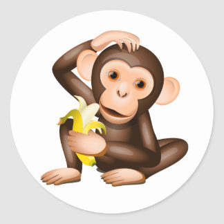 Little monkey round sticker