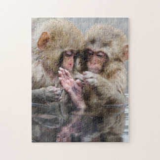 Little monkeys in hot spring, Japan. Jigsaw Puzzle