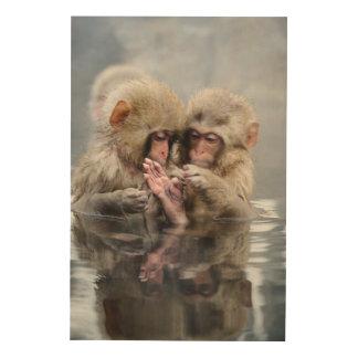 Little monkeys in hot spring, Japan. Wood Wall Art