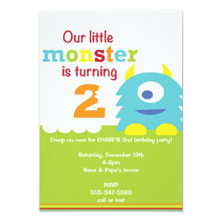 Little Monster Birthday Invite - 2nd birthday