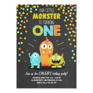 Little Monster Birthday Party Invitation Chalk