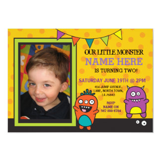 Little Monster Birthday Party Photo Fun Invite