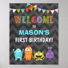 Little Monster birthday Welcome Sign Boy Chalk