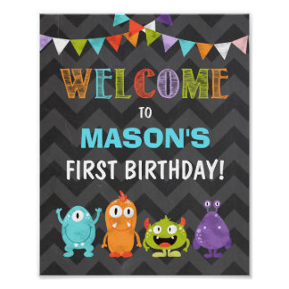 Little Monster birthday Welcome Sign Boy Chalk Poster