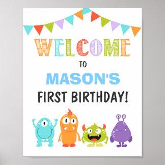 Little Monster birthday Welcome Sign Boy white