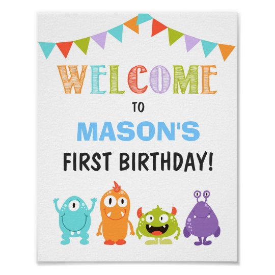 Little Monster birthday Welcome Sign Boy white