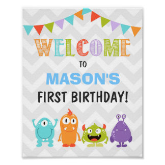 Little Monster birthday Welcome Sign Boy white Poster