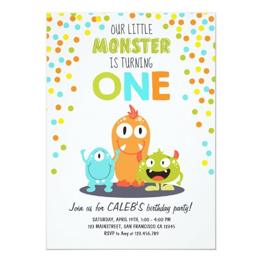 Little Monster First Birthday Party Invitation Boy