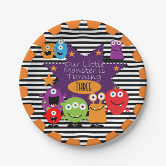 Little Monster Happy Birthday Paper Plates 7 Inch Paper Plate