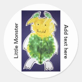 Little Monster - portrait template design Round Stickers