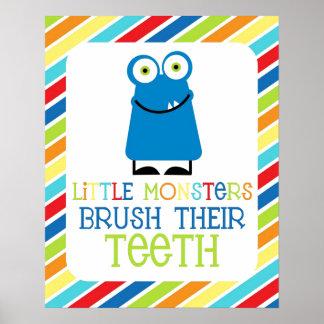Little Monsters Brush Their Teeth Children's Print