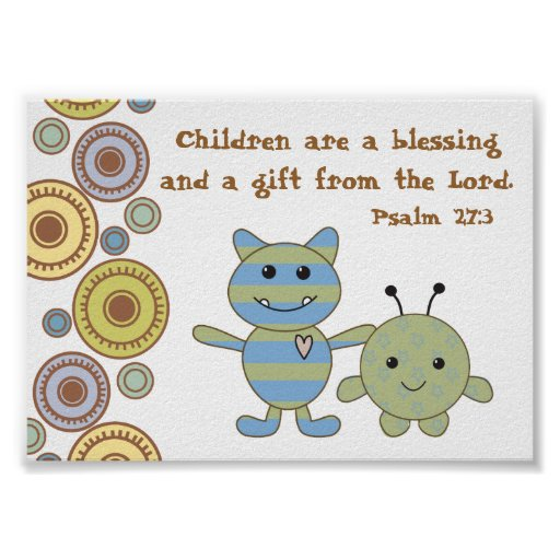 Little Monsters Christian Bible Verse Poster