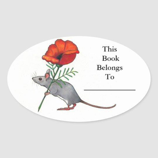 Little Mouse With Big Flower: Book Plate Oval