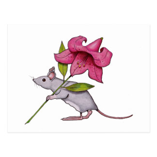 Little Mouse With Big Flower: Lily, Art Postcard