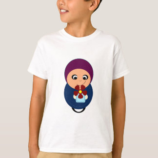 Little muslim girl purple hijab hijabi cartoon T-Shirt