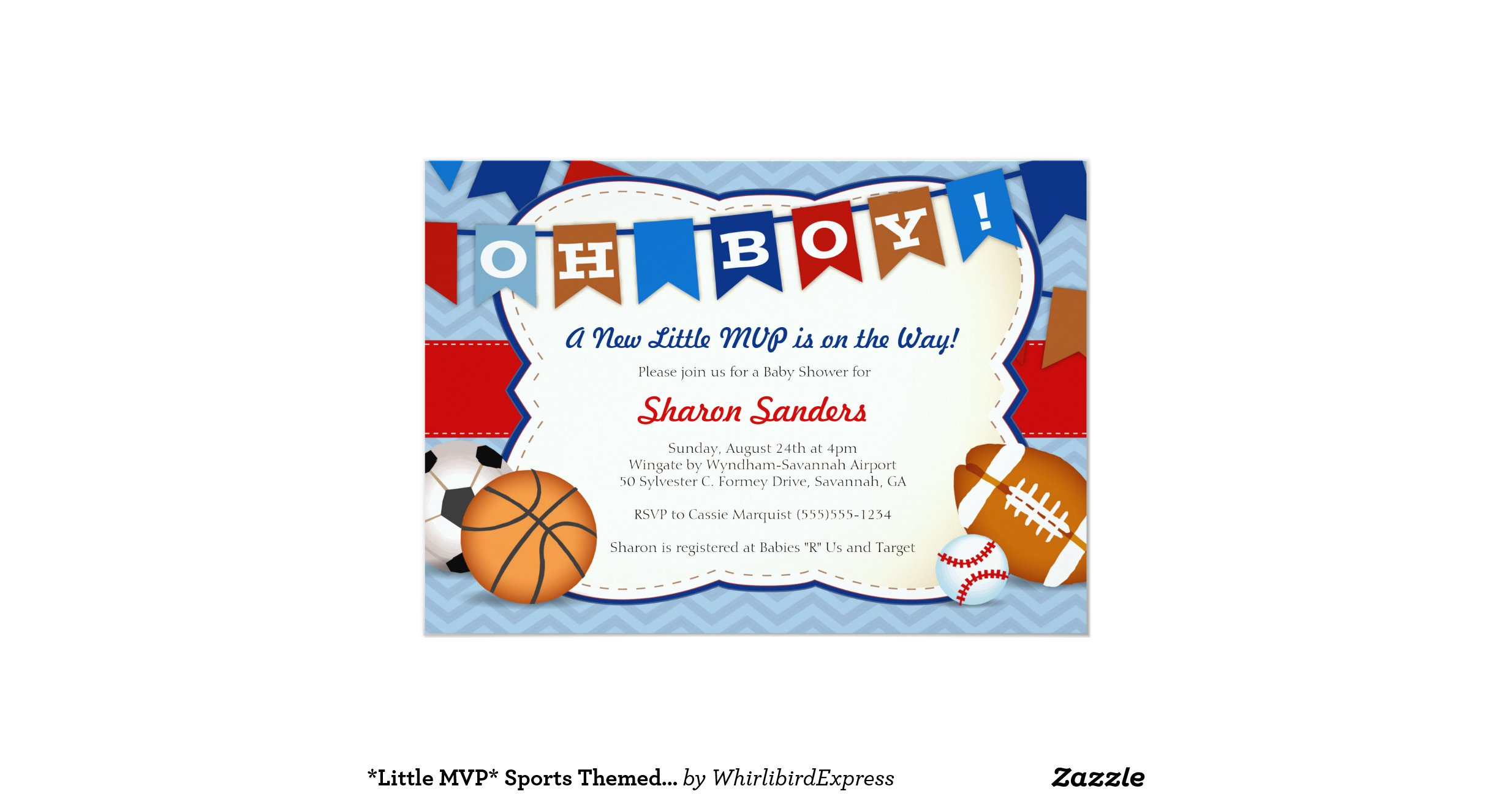 little mvp sports themed baby shower invitation zazzle