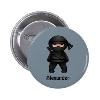 Little Ninja on Gray 6 Cm Round Badge