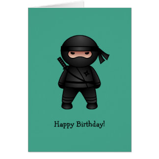 Little Ninja on Green Happy Birthday Cards