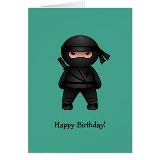 Little Ninja on Green Happy Birthday Greeting Card
