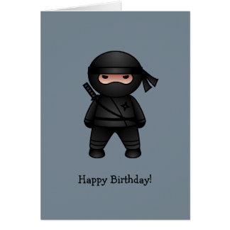 Little Ninja on Grey Happy Birthday Card