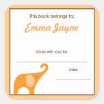 Little Orange Elephant  Book Plate Bookplates Square Sticker