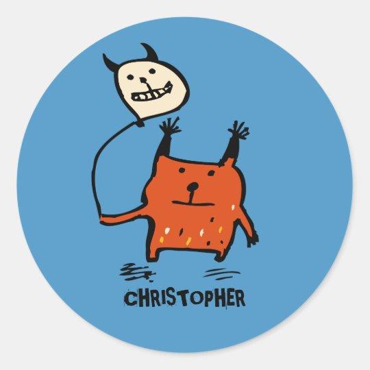 Little Orange Monster Blue Stickers