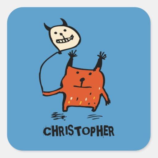 Little Orange Monster Stickers