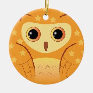 Little orange owl round ceramic decoration
