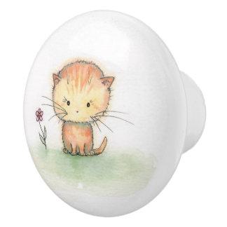 Little Orange Tabby Cat Kitten Illustration Ceramic Knob