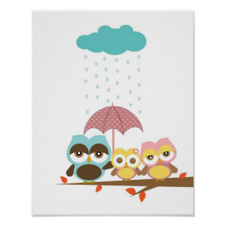 Little owl girl with mum dad under umbrella poster