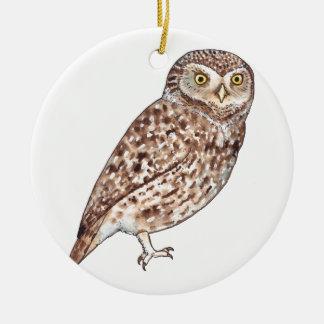 Little Owl Round Ceramic Decoration