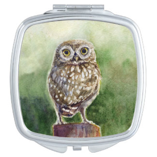 Little Owl watercolor painting Compact Mirrors