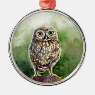 Little owl watercolor painting christmas tree ornaments