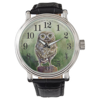 Little owl watercolor watch