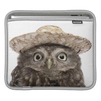 Little Owl wearing a straw hat - Athene noctua iPad Sleeve