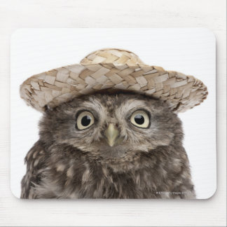 Little Owl wearing a straw hat - Athene noctua Mouse Mat