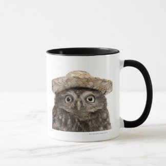 Little Owl wearing a straw hat - Athene noctua Mug