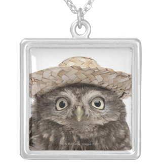 Little Owl wearing a straw hat - Athene noctua Silver Plated Necklace