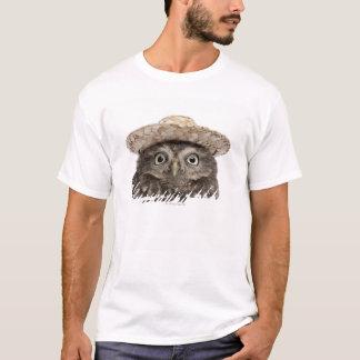 Little Owl wearing a straw hat - Athene noctua T-Shirt