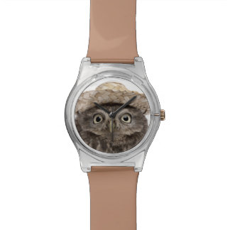 Little Owl wearing a straw hat - Athene noctua Watch