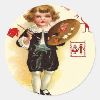 Little Painter Valentine Round Sticker