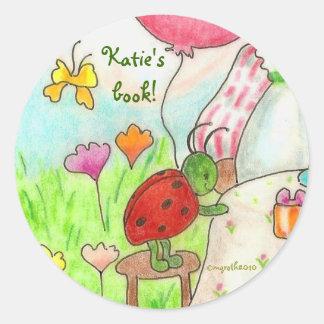 little party bug bookplate round sticker