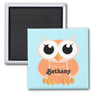 """Little Peach Owl"" - personalized Magnet"