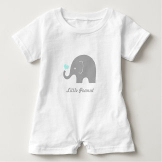 Little Peanut Elephant Baby Romper, Blue Heart Baby Bodysuit