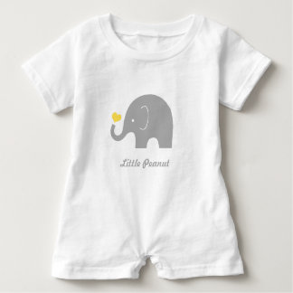 Little Peanut Elephant Baby Romper, Yellow Heart Baby Bodysuit