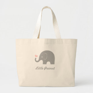 Little Peanut Elephant Tote Bag, pink heart